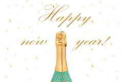 New Year Celebration champagne on white backg. Stock Photos