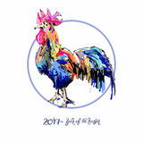 New year celebration chinese zodiac signs with decorative rooste. Original design for new year celebration chinese zodiac signs with decorative rooster on circle Royalty Free Stock Photos