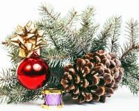 New year celebration, Christmas holiday stuff, tree, toys, decor Stock Image