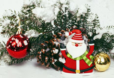 New year celebration, Christmas holiday stuff, tree, toys, decoration with snow isolated, santas red hat stock photos
