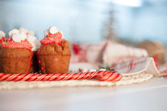 New Year celebration cupcakes, chocolate muffins Royalty Free Stock Images