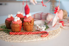 New Year celebration cupcakes, chocolate muffins Stock Photography