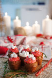 New Year celebration cupcakes, chocolate muffins on table. New Year celebration cupcakes, chocolate muffins on the table Stock Photos