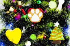 New Year celebration. Year of the dog. New Year`s toys and lights. Fun mood royalty free stock photo