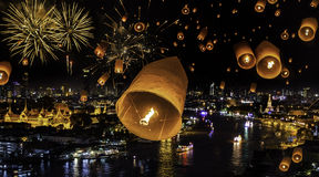 New year celebration with firework and yeepeend float Stock Image