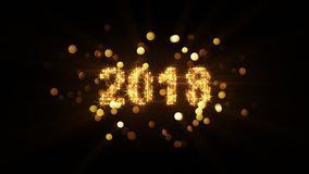 New year 2018 celebration computer graphic. New year 2018 celebration and fireworks bokeh. Christmas holiday concept. Computer generated image stock illustration