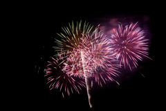 New Year celebration fireworks. Stock Photos