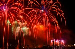 New year celebration with fireworks Royalty Free Stock Photos