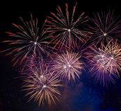 New Year celebration fireworks. And smoke at night Royalty Free Stock Image