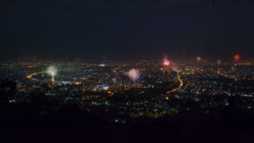 New Year Celebration Fireworks Over CityScape Of Chiang Mai, Thailand stock video footage