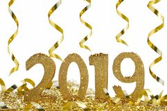 2019 new year celebration in ribbons royalty free stock photo