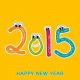 New Year celebration greeting card design. Stylish text of Happy New Year 2015 in kiddish way on stylish yellow background Royalty Free Stock Images
