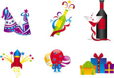 New Year Celebration Icons Stock Photos