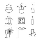 New year celebration icons set. Vector illustration of fur winter tree, snowman, champagne bottle, Gingerbread man, calendar, candle, glass, mask and sweet Royalty Free Stock Photography