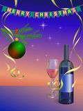 New Year celebration illustration. Vector wine glass with bottle Royalty Free Stock Photography