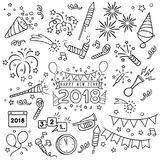 New year celebration line draw. New year party doodle elements in black isolated over white background Stock Image