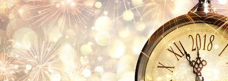 New Year 2018 Celebration. With Dial Clock stock photo