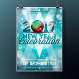 New Year Celebration Party illustration with 2017 holiday typography designs with disco ball on shiny blue background. Stock Image