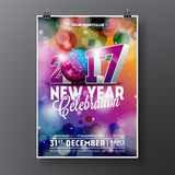 New Year Celebration Party illustration with 2017 holiday typography designs Stock Photos