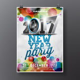 New Year Celebration Party illustration with 2017 holiday typography designs with speaker on shiny color background. Royalty Free Stock Photography