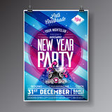 New Year Celebration Party illustration with holiday typography designs with speakers on shiny color background. Stock Image