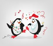 New year celebration penguins party characters vector illustration