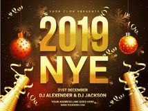 New Year celebration poster design with 3D text 2019 and decorat. Ive bauble, confetti time and venue details royalty free illustration
