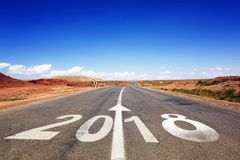 2018 New Year celebration on the road asphalt Stock Images