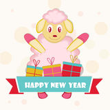 New Year celebration with a sheep. Happy New Year celebration poster or banner with a sheep and gift boxes on stylish background Stock Photography