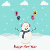 New Year celebration with snowman. Happy New Year 2015 celebration concept with snowman and stylish text on sky blue background Stock Photos