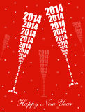 New Year 2014 Celebration. Stylish Wine Glass Toasting Design Stock Illustration