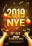New Year celebration template or flyer design with 3D text 2019. And decorative bauble, confetti time and venue details royalty free illustration