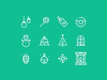 New Year Celebration thick line pixel perfect icon set Stock Photos