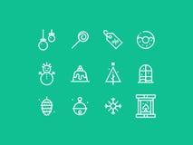 New Year Celebration thick line pixel perfect icon set Stock Photos