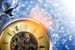 New Year - Celebration With Vintage Clock. And Bokeh Background Royalty Free Stock Photos