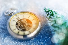 New Year - Celebration With Vintage Clock. Tree and Bokeh Background Royalty Free Stock Photo
