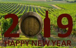 New Year Celebration with wine 2019 on landscape background royalty free stock image
