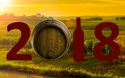 New Year Celebration with wine 2018 Stock Photos