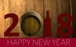New Year Celebration with wine 2018 Royalty Free Stock Photos