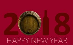 New Year Celebration with wine 2018 Stock Images