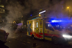 2015 New Year celebrations and an ambulance at the Wenceslas square, Prague Royalty Free Stock Images