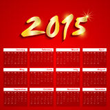 New Year celebrations calendar design of 2015. 2015 calendar design with shiny golden text on red background Royalty Free Stock Images