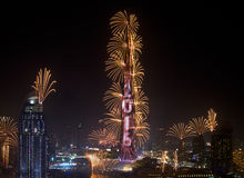 New Year Celebrations. In Dubai. Fireworks are all around the famous Burj Khalifa royalty free stock photography