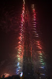 New Year Celebrations Fireworks at Burj Khalifa in Dubai Royalty Free Stock Image