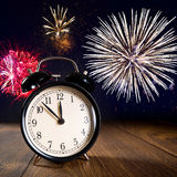 New year celebrations with fireworks Stock Images