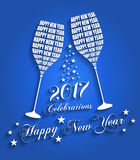 New Year 2017 Celebrations - Stylish Wine Glass Toasting Design Royalty Free Stock Photos