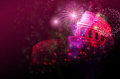 New year Celebratory fireworks over Colosseum, Italy. Rome Stock Photography