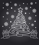New Year chalkboard card with fir tree Royalty Free Stock Photos