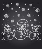 New Year chalkboard card with snowmen. New Year chalkboard card with the family of snowmen Stock Photos
