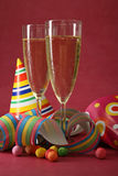 New year champagne. Glasses of champagne and new year decoration Stock Photo